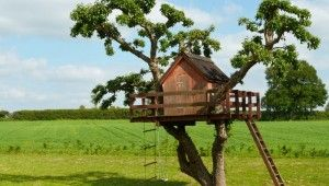 A wooden house from childhood dreams